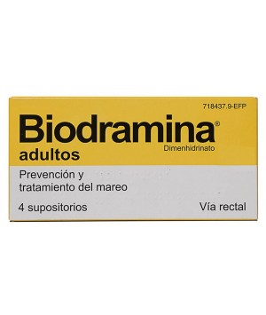 BIODRAMINA ADULTOS 100 MG 4 SUPOSITORIOS